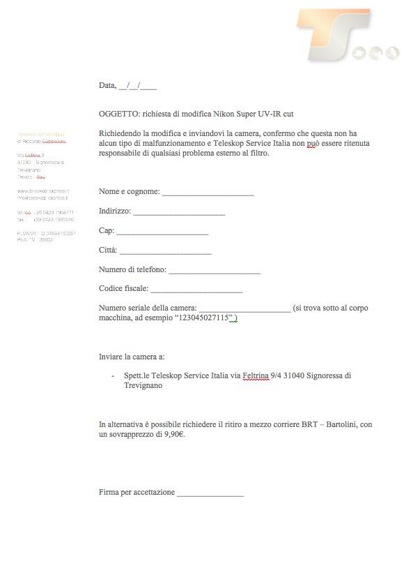 Modifica Astronomy Nikon D5500 Super UV-IR cutcon richiesta ritiro del pacco al corriere Bartolini