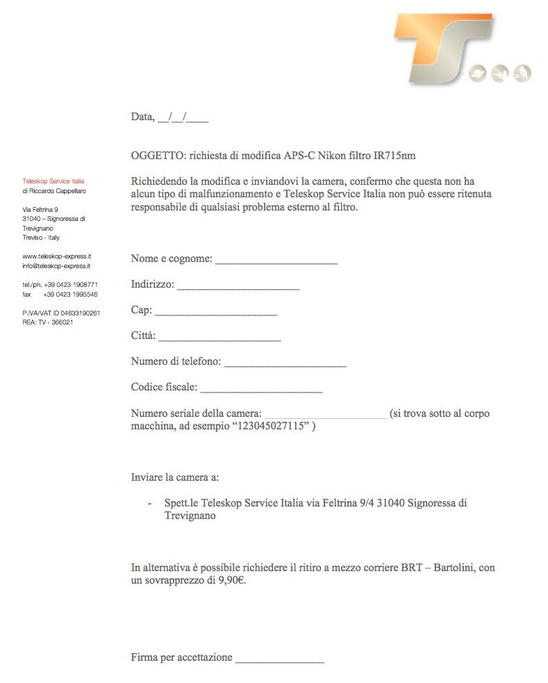 Modifica APS-C Nikon Filtro IR715nmcon richiesta ritiro del pacco al corriere Bartolini