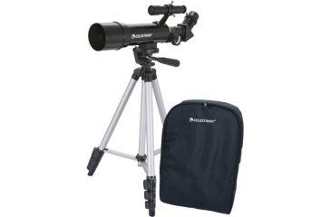 Telescopio Compatto TravelScope 50, con accessori, treppiede in alluminio e zaino da trasporto.
