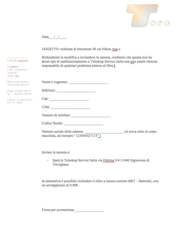 Rimozione Ircut Nikon Aps-ccon richiesta ritiro del pacco al corriere Bartolini