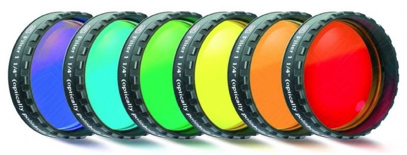 """Set di 6 Filtri Colorati per l'osservazione visuale da 1¼"""" (31.8mm), con trattamento multistrato"""