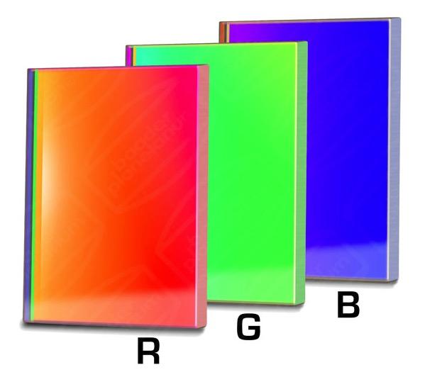 Filtro B (Blu) quadrato da 65x65mm, per CCD, senza cella (spessore vetro 3mm)