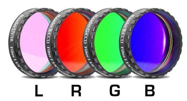 """Set di filtri LRGB parafocali da 1¼"""" (31.8mm) per CCD, spessore 2mm. Rosso (R), Verde (G), Blu (B) e Luminanza (L, filtro IR-UV-cut per riprese nel visibile). Celle a basso profilo (LPFC) adatte a tutte le ruote portafiltri"""