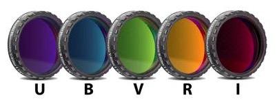 """Set di Filtri Fotometrici UBVRI da 1¼"""" (31.8mm), con cella a basso profilo"""