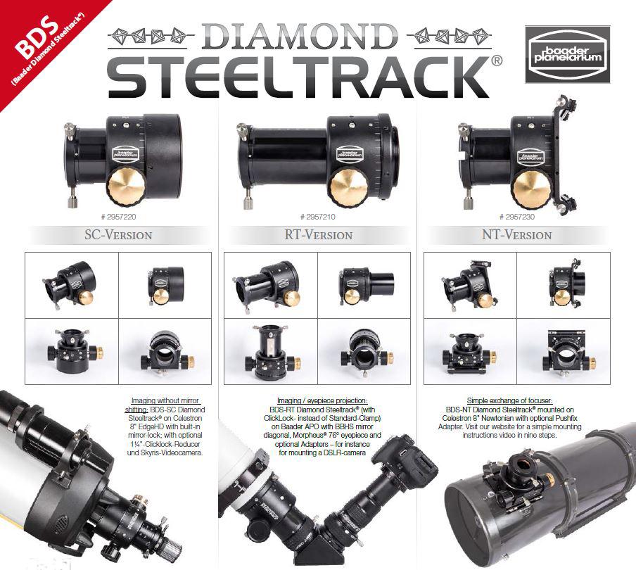 """Focheggiatore Baader Diamond Steeltrack® BDS da 2"""" per telescopi Schmidt Cassegrain. Escursione utile 30mm. Inclusi raccordo da 3.3"""" e riduzione 2"""""""